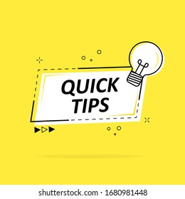 Speech bubble with quick tip. Helpful tricks with useful information for website or blog post. Black - yellow banner with text and quote. Vector icon of solution, advice. Vector illustration.