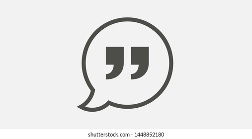 Speech bubble with quote icon vector logo illustration