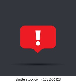 Speech bubble red attention sign icon. New message or alert icon.attention warning attacker alert sign with exclamation mark. beware alertness of internet danger symbol. Security protection