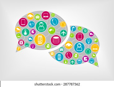 Speech bubble to represent wireless communication of connected devices. Concept of internet of things (IOT), mobile computing and smart machines.