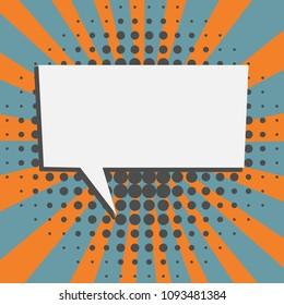 Speech bubble in retro cartoon style graphic design elements
