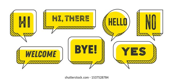 Speech Bubble. Set of 3d and 2d line speech bubble cloud talk with text Hallo, Goodbye, Ciao, Good Day. White speech bubble isolated cloud talk silhouette on yellow background. Vector Illustration