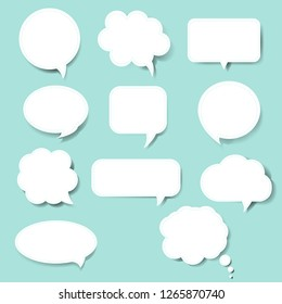 Speech Bubble Set Blue Background With Gradient Mesh, Vector Illustration