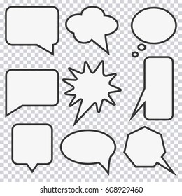 Speech bubble set. Elements for design comic strip. Vector illustration.