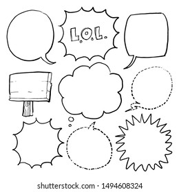 speech bubble set hand drawn