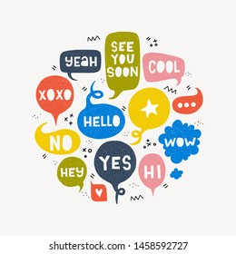 Speech bubble set with typography exclamation Hi, Hello, Yes, No, Wow, Like, Cool, Hey, Yeah, See You Soon, Xoxo. Card with group of colorful balloons with talk expressions, marks and symbols. Vector