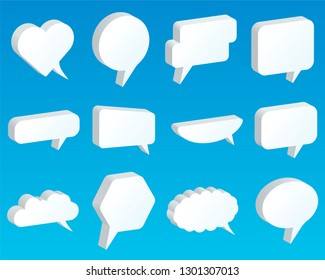 Speech bubble. Set of vector 3D illustrations. Blank templates for advertising or web design. Universal collection of various forms for dialogue, communication  or thoughts. Empty field for your text.