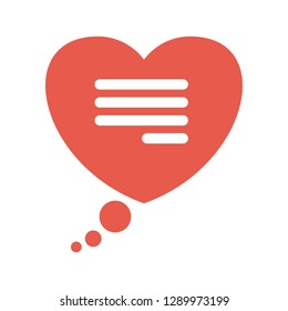 Speech bubble in the shape of a heart. Words of love. Message in the chat in the application for dating. Flat vector icon isolated on white bacground.