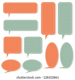 Speech bubble in shapes with shadow and grunge patterned, vector illustration.