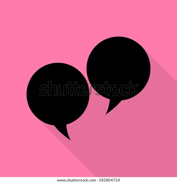 Speech bubble sign. Black icon with flat style shadow path on pink background.