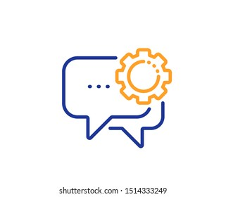 Speech bubble sign. Employees messenger line icon. Chat message symbol. Colorful outline concept. Blue and orange thin line employees messenger icon. Vector
