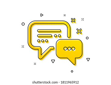Speech bubble sign. Employees messenger icon. Chat message symbol. Yellow circles pattern. Classic employees messenger icon. Geometric elements. Vector