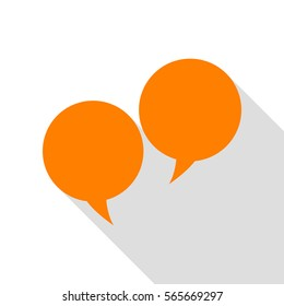 Speech bubble sign. Orange icon with flat style shadow path.