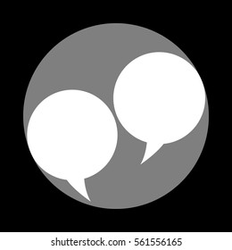 Speech bubble sign. White icon in gray circle at black background. Circumscribed circle. Circumcircle.