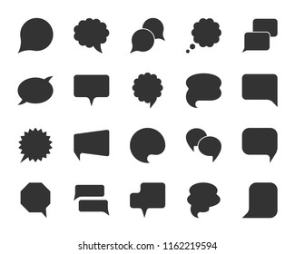 Speech bubble silhouette icon set. Web sign kit of comic tell. Communication chat icons contact support media information, forum conversation. Different shapes of simple isolated bubbles vector symbol