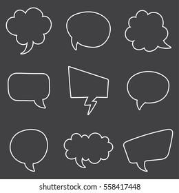 Speech Bubble Skech Set Isolated on black Background. Vector Illustration