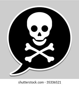 Speech bubble with skull and crossbones - vector