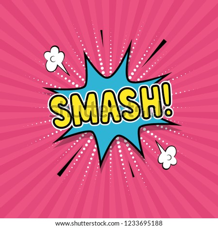 speech bubble smash on rays pink stock vector royalty free