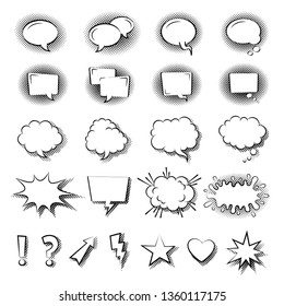 Speech bubble symbols, icon set. Hand drawn thought and speech bubbles and balloons, different types and shapes. Arrow, lightning, star, heart, exclamation mark, question mark. Conversation symbols.