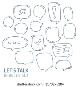 Speech Bubble Talk Traditional Doodle Icons Sketch Hand Made Design Vector.