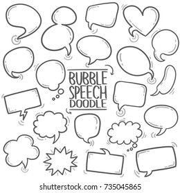 Speech Bubble Talk Traditional Doodle Icons Sketch Hand Made Design Vector