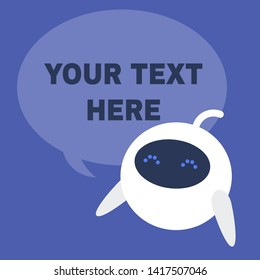 Speech bubble. Template. Copy space. Your text here. Cute white robot. New technologies. Flat editable vector illustration, clip art