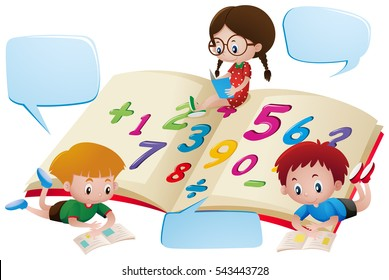 Speech bubble template with kids studying math  illustration