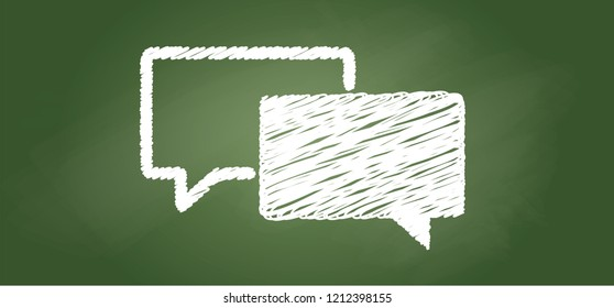 Speech bubble testimonials icon, School green chalkboard chalk board  communication Icon icons computer web Dialog Vector eps flat chatting whatsapp app fun funny Ok Oke Okey shhh speech thought comic