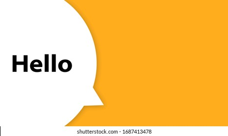 Speech bubble with text Hi. Hello. White bubble message hi in yellow background. Trendy banner, poster.