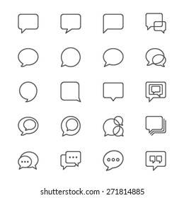 Speech bubble thin icons