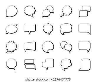 Speech bubble thin line icon set Outline web sign of comic tell. Pop art, comics, chat linear customer dialog icons empty template, clean label Simple speech bubble symbol isolated vector Illustration
