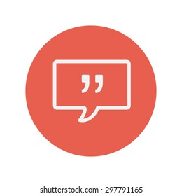 Speech bubble thin line icon for web and mobile minimalistic flat design. Vector white icon inside the red circle.