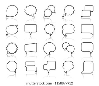 Speech bubble thin line icons set. Outline web sign of comic tell. Communication Chat linear icons paper speak doodle price note, buble quote. Simple message symbol with reflection vector Illustration