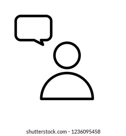 Speech bubble user outline icon. linear style sign for mobile concept and web design. Comment line vector icon