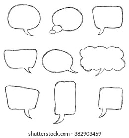 Speech Bubble Vector. Black Hand Drawn Sketch Speech Bubbles Set Isolated on White Background. Doodle  Illustration