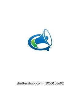 speech bubble vector illustration. social media logo. talk bubble with megaphone. speak up logo icon design.