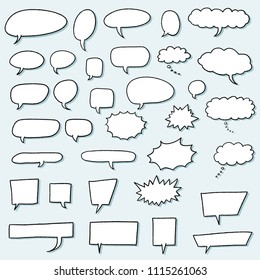 Speech bubble vectors - comic book style blank dialog bubble set.