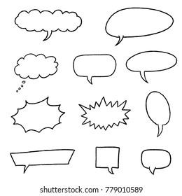 Speech bubble vectors - comic book style blank dialog bubble set.