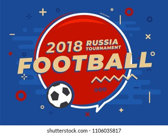 Speech bubble with word Russia football tournament on sport background. Place for text. Vector Illustration.