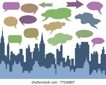 speech bubbles above the city