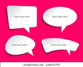 Speech bubbles banner set. Price tags, sticker. Vector illustration.