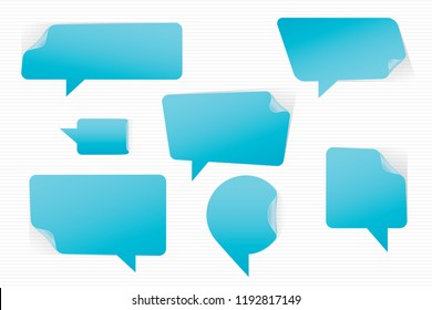 Speech Bubbles Bent Corners Stickers Style Set of Inverted Rectangle Distorted Circle and Square Blank Trendy Shapes - Blue Elements on White Background - Vector Gradient Graphic Design