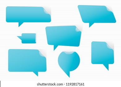 Speech Bubbles Bent Upper Right Corners Stickers Style Set of Inverted Rectangle Distorted Circle and Square Blank Trendy Shapes - Blue Elements on White Background - Vector Gradient Graphic Design