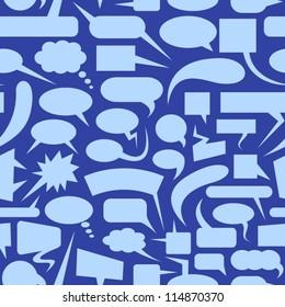 Speech bubbles blue seamless pattern.