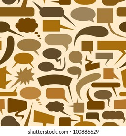 Speech bubbles brown seamless pattern.