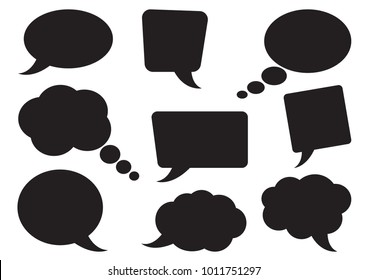 Speech bubbles collection. Blank empty black speech bubbles for your text. Vector illustration