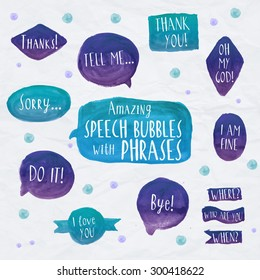Speech Bubbles Colorful set icons with short phrases on light background