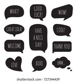 Speech bubbles with different phrases. Vector set of dialogue windows.