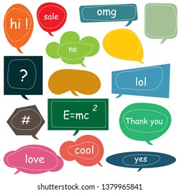 speech bubbles doodle set with accentuation