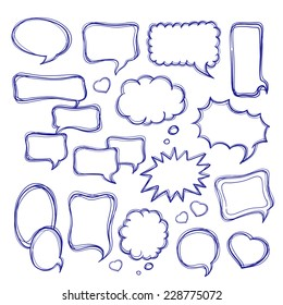 Speech bubbles doodles set